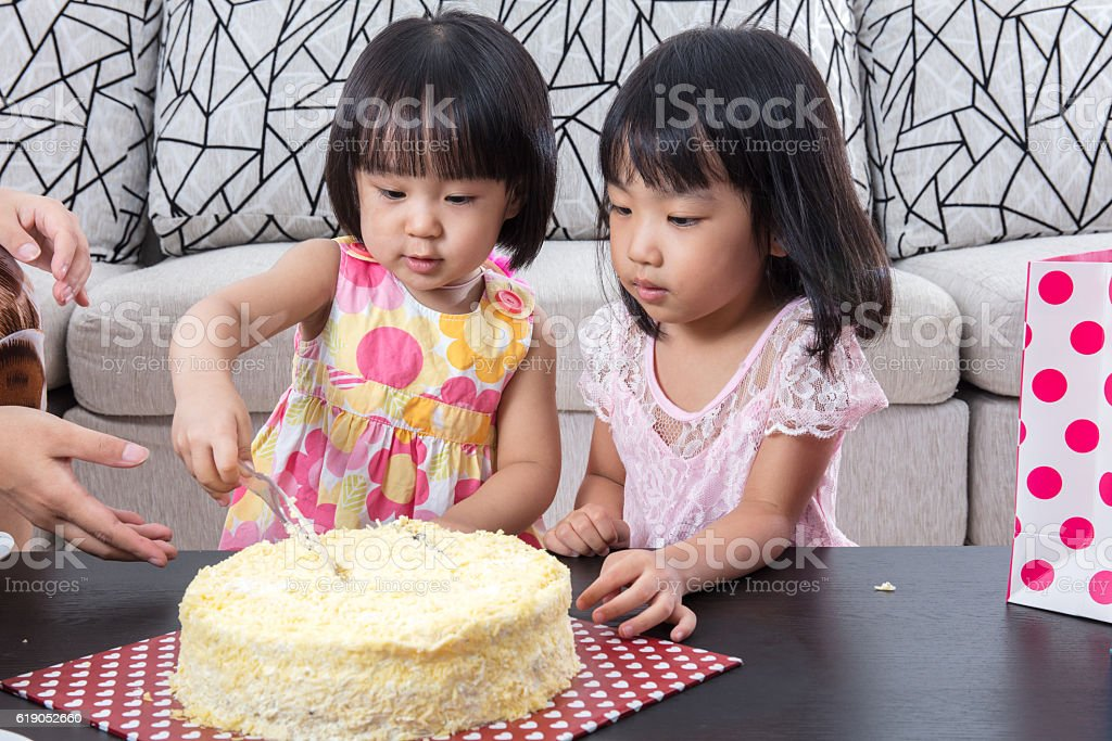 Brilliant Asian Chinese Little Sister Cutting Birthday Cake Stock Photo Funny Birthday Cards Online Inifofree Goldxyz