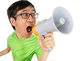 istock Asian Chinese Man Shouting with a Megaphone 522650038