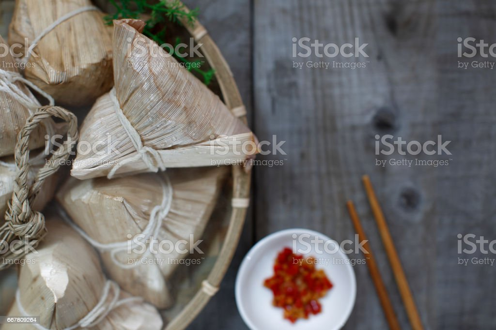 Asian Chinese Rice Dumpling Aerial View background stock photo