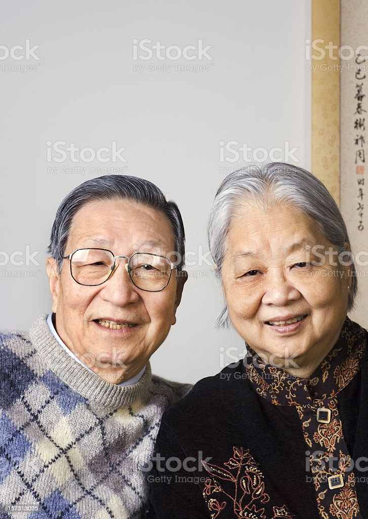 Asian Chinese Senior Older Adult Couple Family Portrait royalty-free stock photo