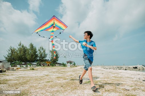 Young Boy Enjoying Learning How To Fly Kite