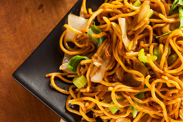 asian chow mein noodles - chinese food stock photos and pictures