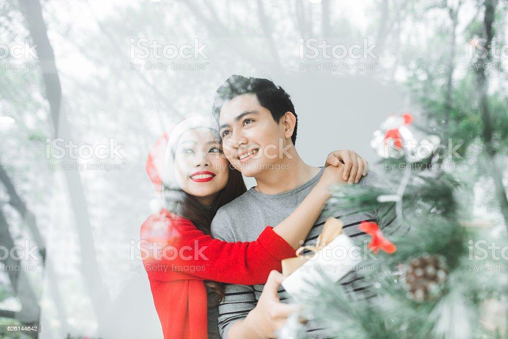 Asian christmas couple stok fotoğrafı