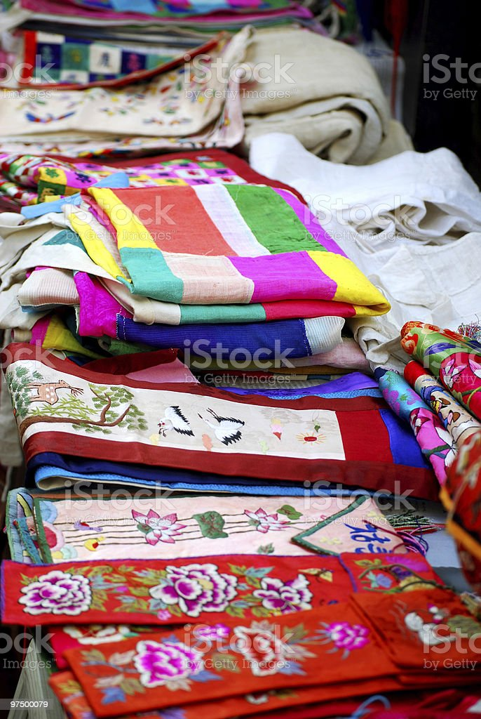 Asian cloths of silk and linen royalty-free stock photo