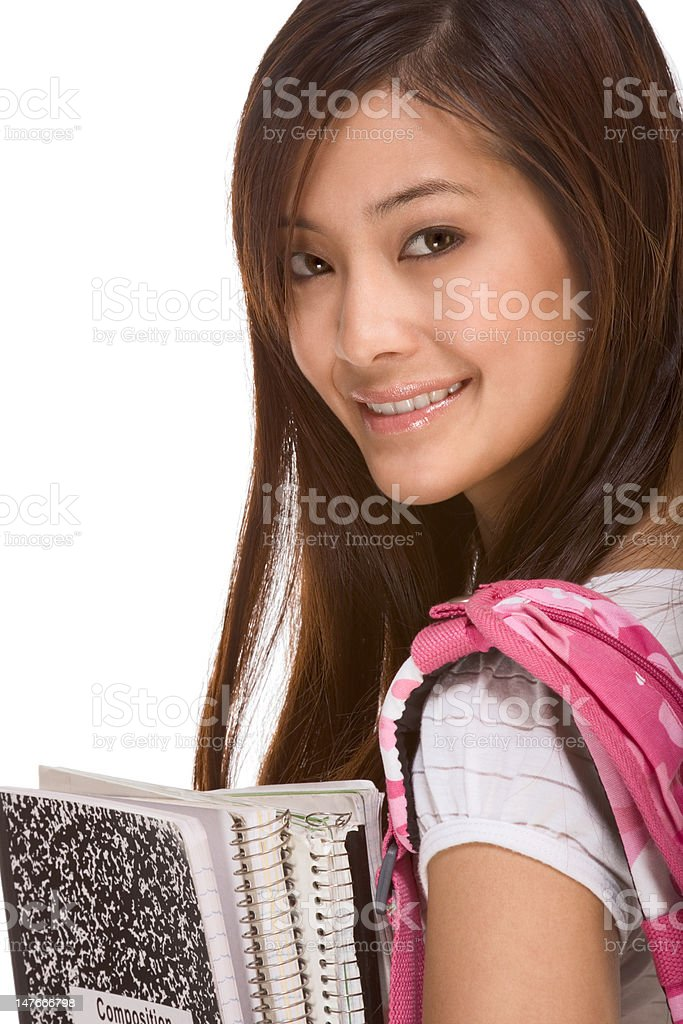 Asian college student with backpack and notebooks royalty-free stock photo