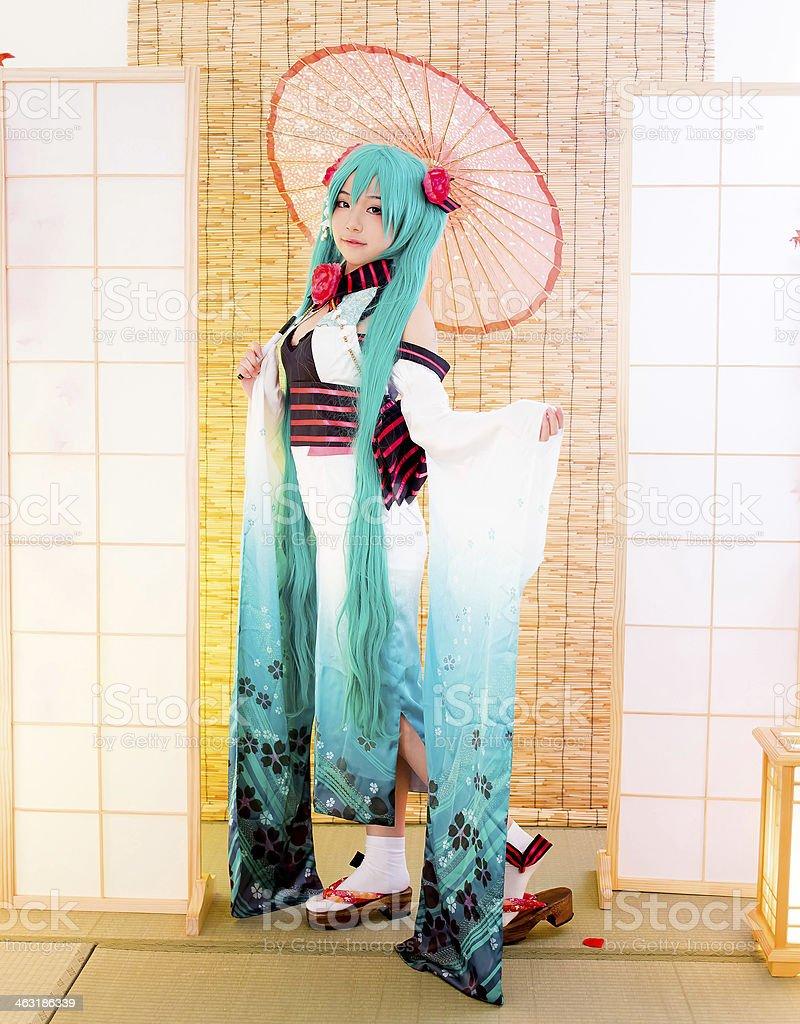 asian cosplay girl sakura Washitsu stock photo