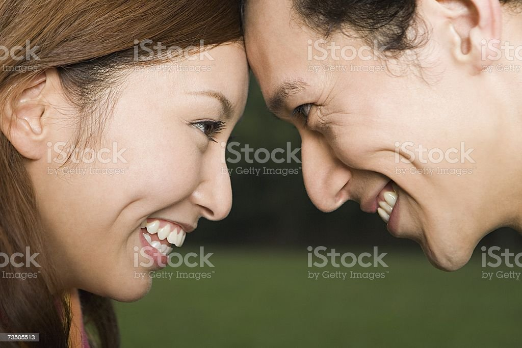 Asian couple face to face royalty-free stock photo