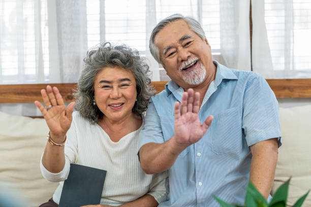 Asian couple Grandparent together with happy feeling in house