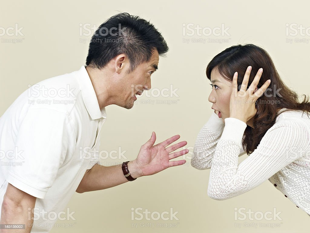Asian couple having a disagreement stock photo
