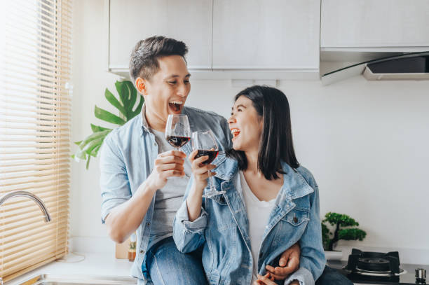 Asian couple in love celebrate their anniversary stock photo