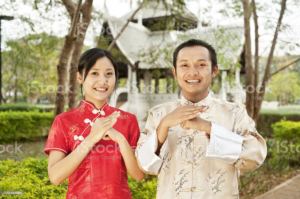 Asian Couple in Traditional Chinese Clothes royalty-free stock photo