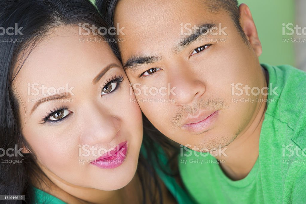 Asian couple outdoor portrait royalty-free stock photo