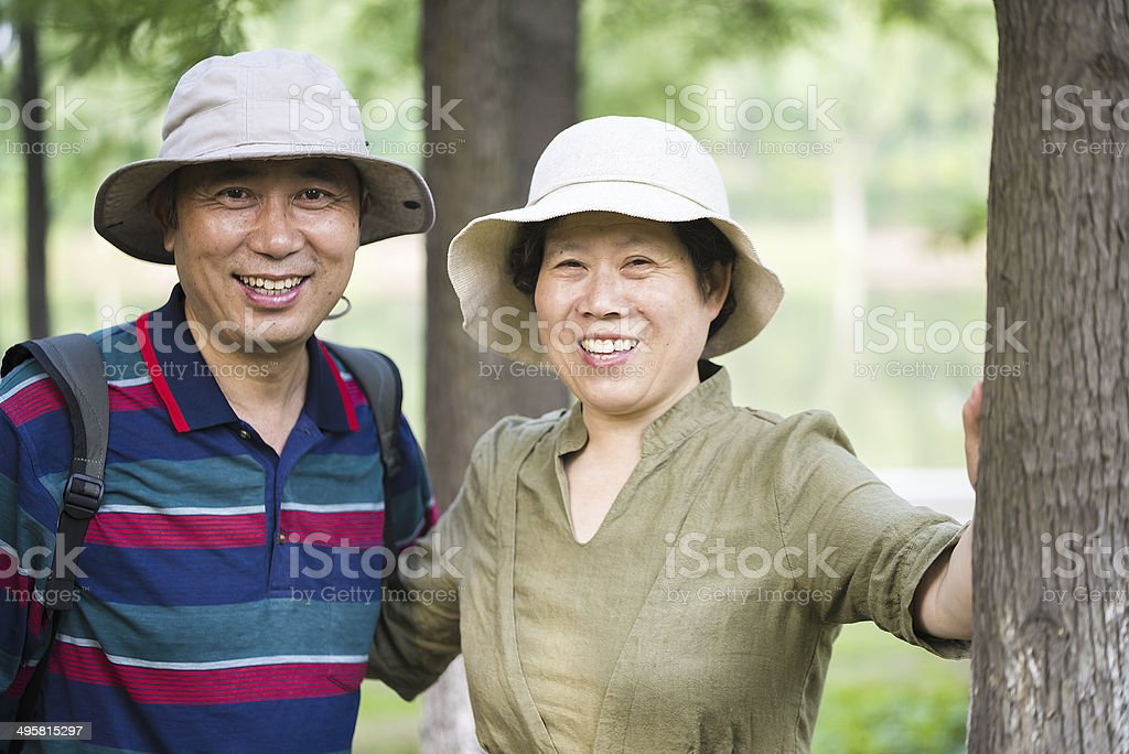 Asian couple travelling stock photo