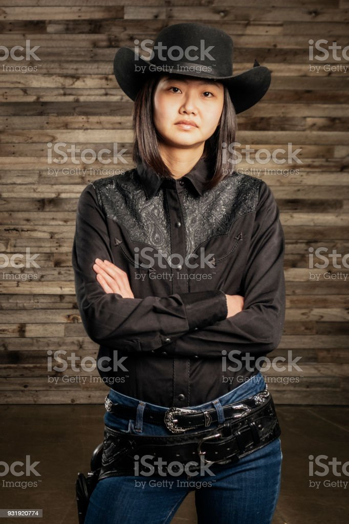 Asian Girl Cowgirl Front View