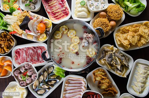 Chinese style hot pot soup with wide variety of ingredients