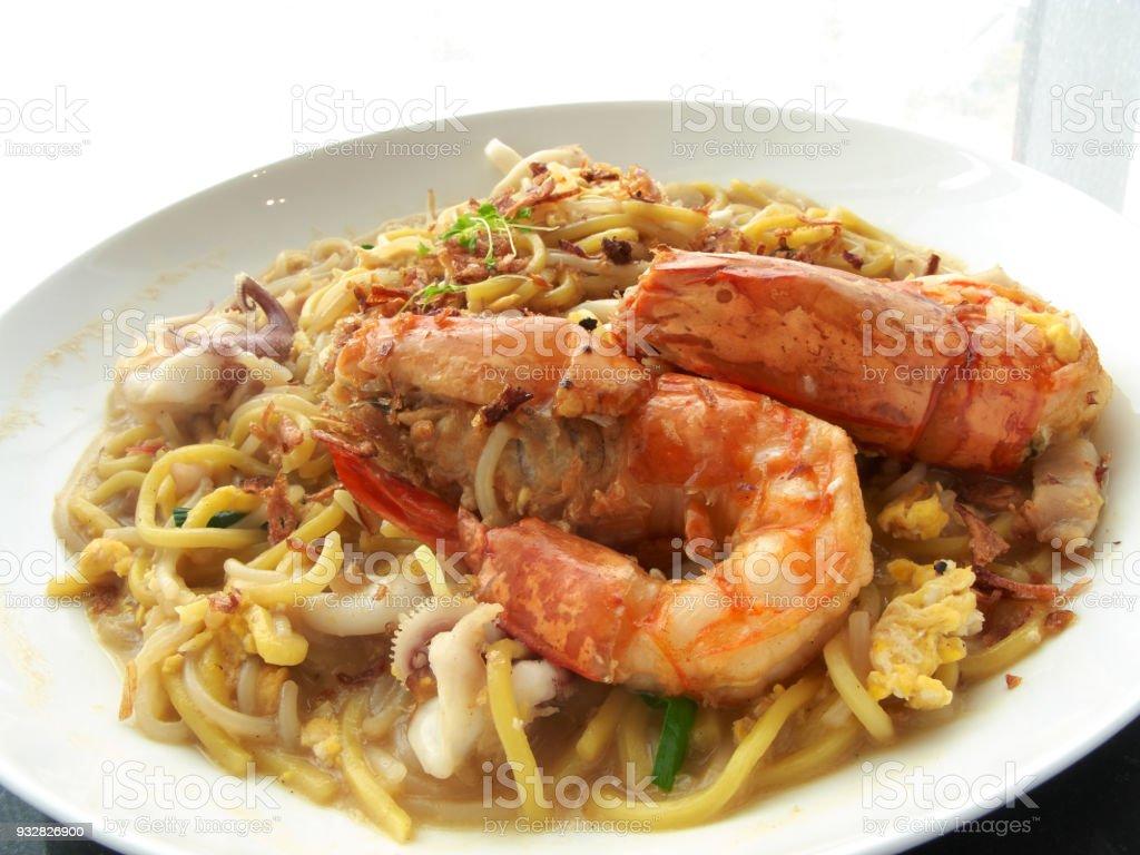 Asian cuisine - Seafood noodles Seafood Hokkien Mee stock photo