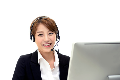 Happy customer service woman