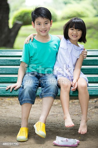 585604690 istock photo Asian cute boy and little girl are smile 485231200