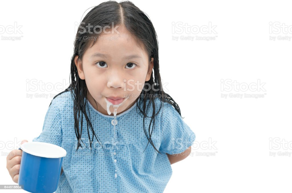 asian cute girl to rinse your mouth after brushing teeth stock photo