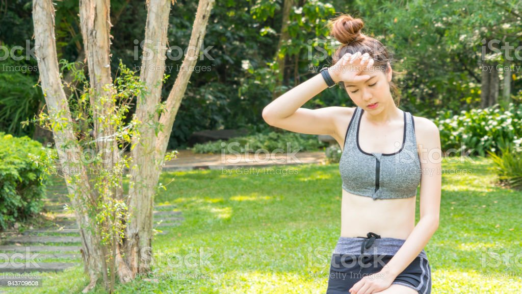 Asian Cute Sport Healthy Fit And Firm Slim Teen Girl Feel Tired Fatigue Unwell Sick Or