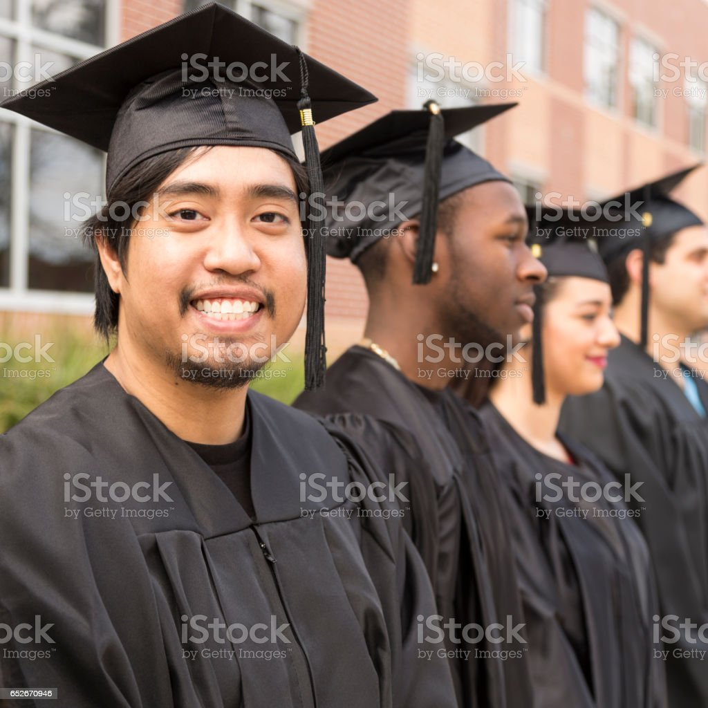 Asian Descent College Student At College Graduation Stock Photo