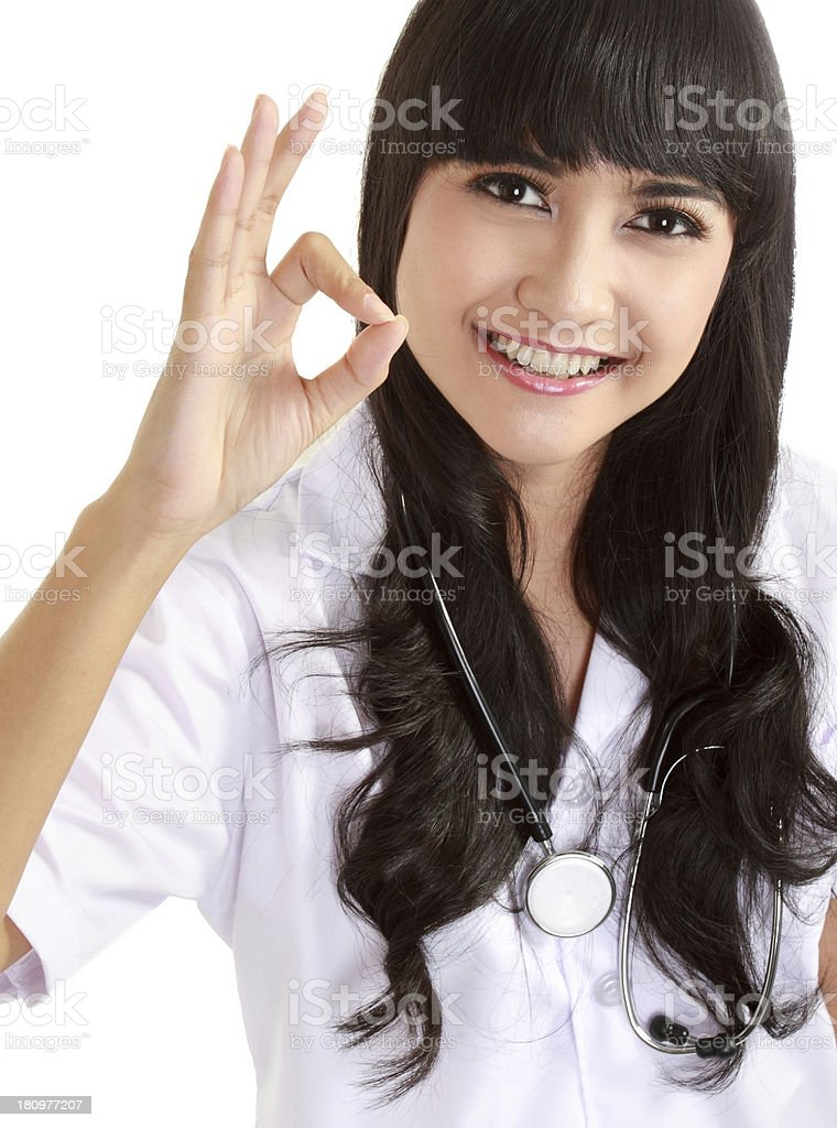 asian doctor showing okay gesture royalty-free stock photo