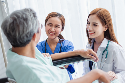 504241549 istock photo Asian doctor woman and nurse encourage disabled old man patient sitting on wheelchair at hospital, asian medical concept 1025818124