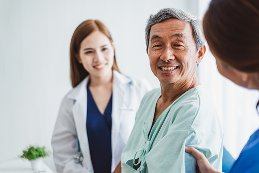 504241549 istock photo Asian doctor woman and nurse encourage disabled old man patient sitting on wheelchair at hospital, asian medical concept 1072338740