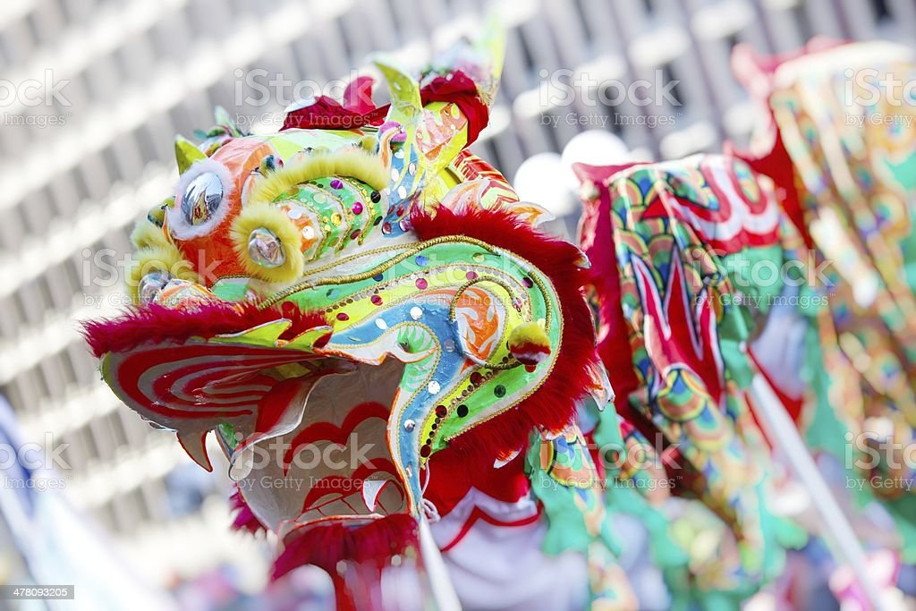 Asian Dragon Dancers royalty-free stock photo
