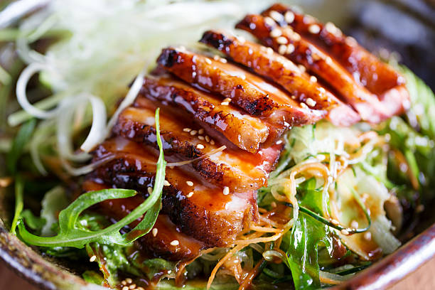 Asian duck salad Asian duck salad with sesame, leek, lettuce and cucumber vietnamese culture stock pictures, royalty-free photos & images