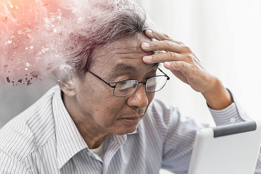 istock Asian elder lost memory from dementia or alzheimer disease concept 1129543203