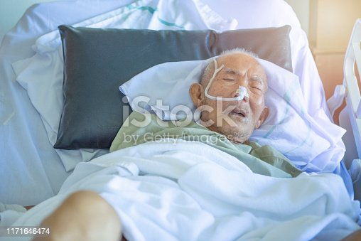 1049772134istockphoto Asian elder man sick and have tube in hospital ward,sleep in coma state on bed 1171646474