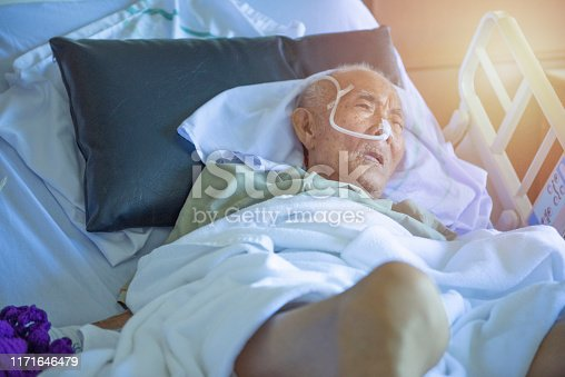 1049772134istockphoto Asian elder man sick and have tube in hospital ward,sleep in coma state on bed 1171646479