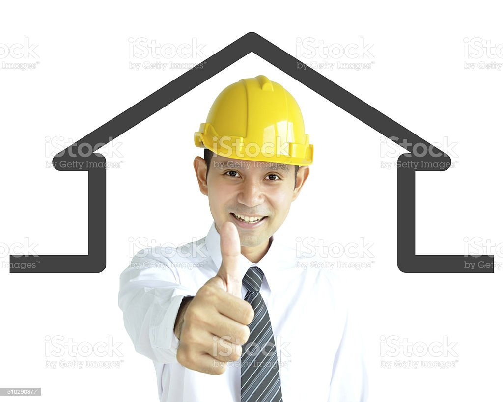 Asian engineer (or architect ) giving thumbs up stock photo