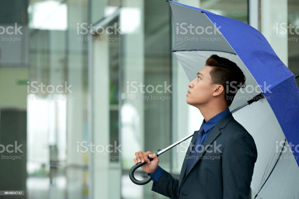 Asian Entrepreneur Looking Upwards royalty-free stock photo