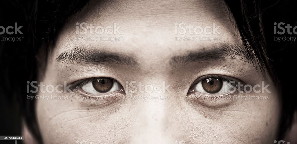 Asian eyes close up stock photo