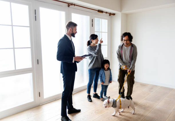 Asian family buy new house stock photo