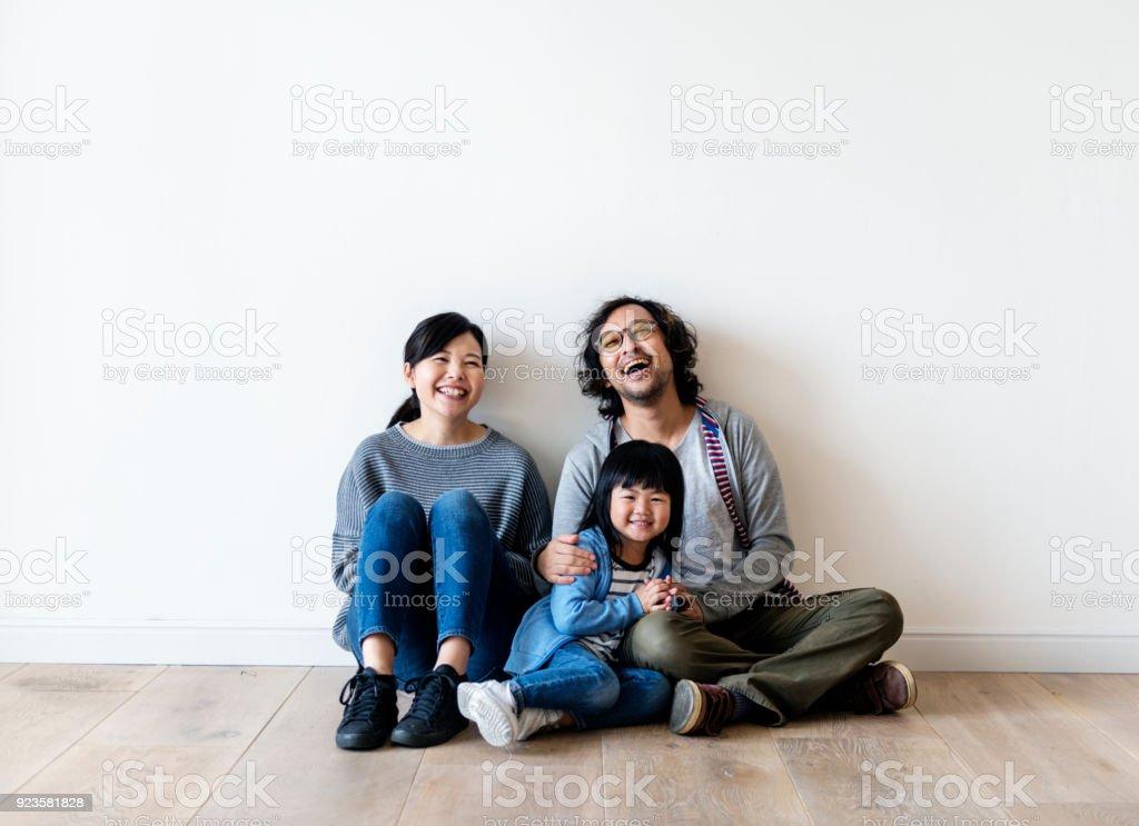 Asian family buy new house stock photo