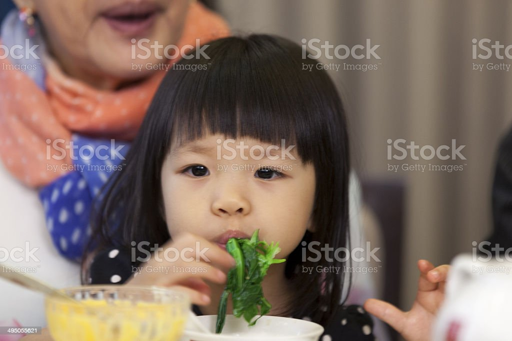 Asian family celebrating a birthday stock photo
