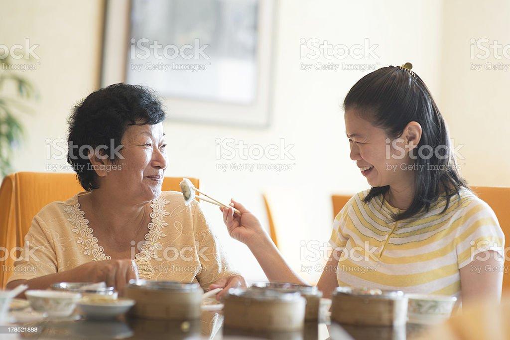 Asian family dining stock photo
