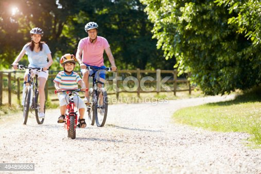 istock Asian Family On Cycle Ride In Countryside 494896653