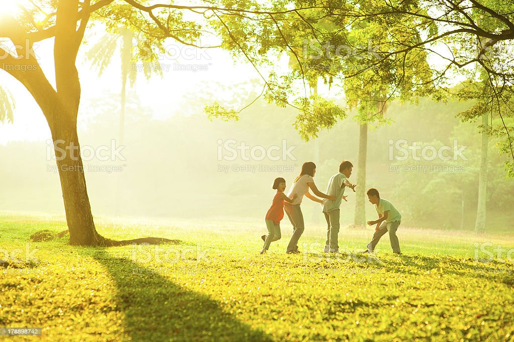 Asian family outdoor quality time stock photo