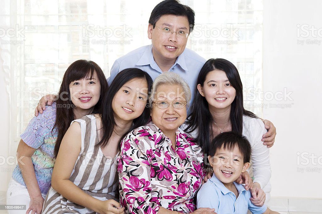 Asian family portrait stock photo