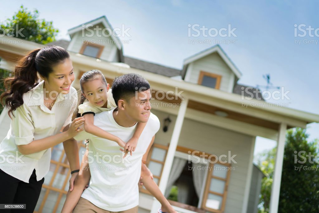Asian family portrait with happy people smiling stock photo