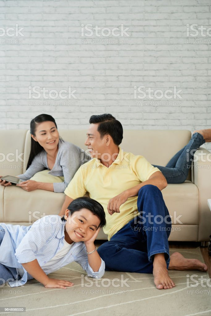 Asian Family Spending Evening Together royalty-free stock photo