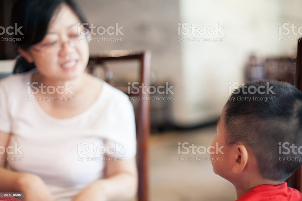 Asian family talking stock photo