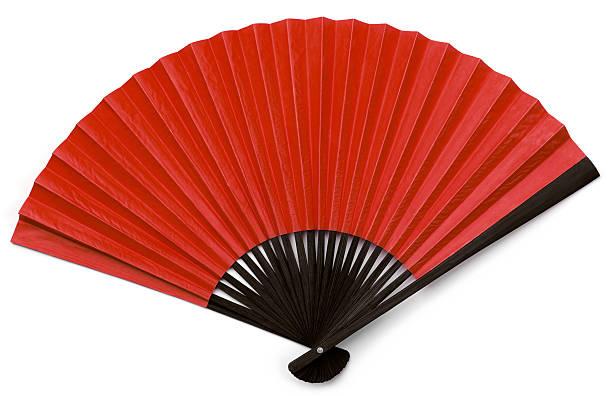 Asiatische Fan mit schwarzem Holz und roten, isoliert auf weiss – Foto