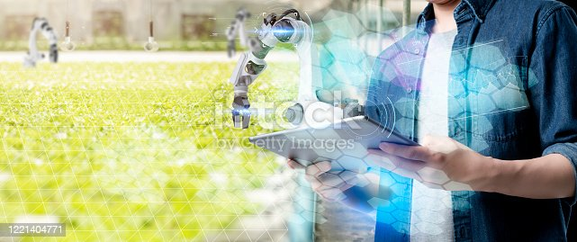 1096949092 istock photo Asian farmer growing plant with IOT based smart agriculture monitoring system, automate sensor robotic farming industry future internet of thing technology. 1221404771