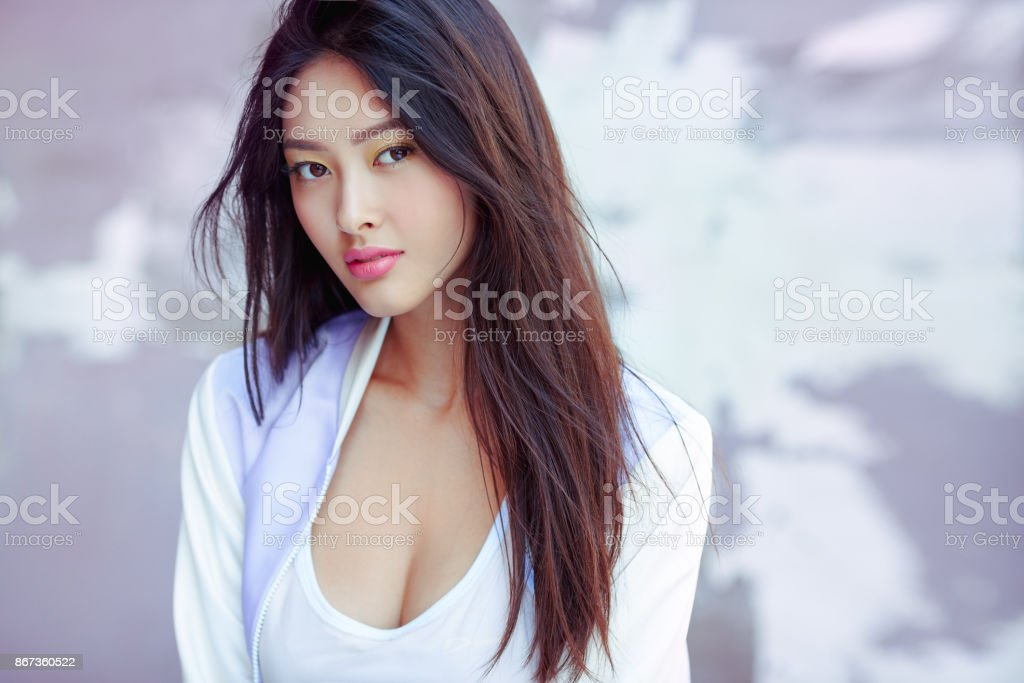 Asian fashion model outdoors stock photo