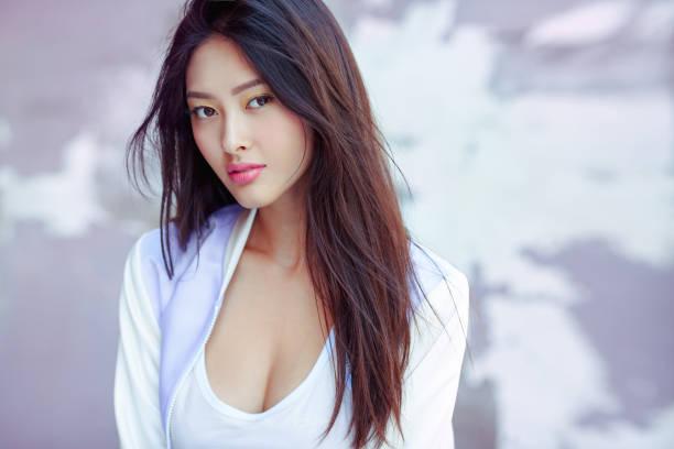 Asian fashion model outdoors stock photo